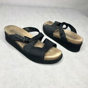 Mephisto Comfort Walking Sandal Black Strappy Leat